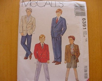 UNCUT McCalls Pattern 6391, Boy's Lined Jacket, Pants and Shorts, Size 14