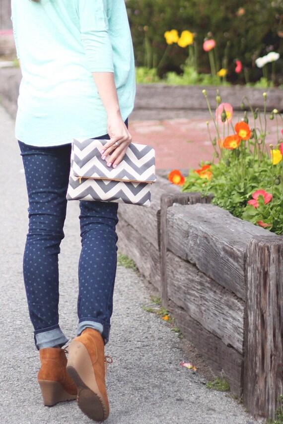 SALE | Chevron Clutch, Oversized Women's Fold-Over Clutch, Oversized Wallet, Women's Bag, Red and Bone