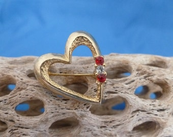 Valentines Heart red and white rhinestone brooch.