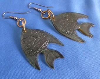 Light Sea Foam green Fish Pierced Earrings.