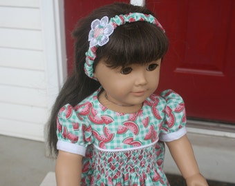 "Hand Smocked Dress with headband for American Girl 18"" Doll"
