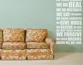 Family Quote Wall Sticker, In This House We Do Wall Vinyl Decal, Words Vinyl Stickers, Family Vinyl Decals, Quote Home Decor - ID355