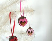 Natural Black Walnut Heart Ornaments Valentines Mothers Day Christmas