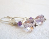 Lavender Pink and Purple Gemstone Earrings- Sterling Silver- AAA Amethysts- February Birthstone- Sixth Chakra