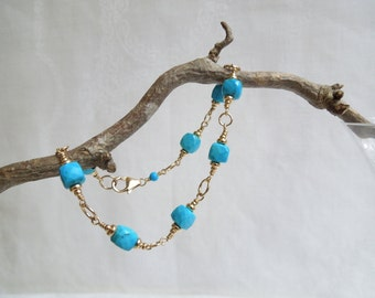 Summer Sky Bracelet: AAA Turquoise Cubes, 14K Gold Filled Beads, December Birthstone