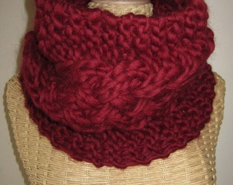 Hand Knit  Cozy Cable Super Chunky Cowl - Burgundy - Oxblood - Dark Red - Wool Valentine Cowl  - Warm Neck Warmer - Soft Fashion Accessory