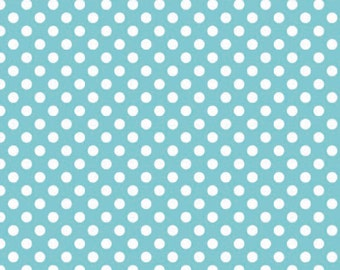 In stock now-Small Cotton Dots in Aqua-by Riley Blake- 1 yard