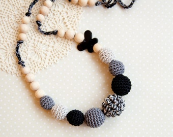 Black grey nursing necklace - teething necklace - butterfly