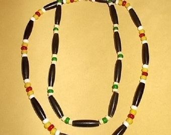 Native American Inspired Design Jewelry - Buffalo Horn, Coco Shell, and White-Hearts Beaded Necklaces