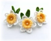 Crochet Applique Daffodil Flowers - Crochet Daffodil Brooches - Set of 3 - Made to Order