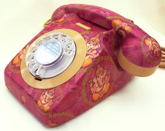 MADE TO ORDER Glorious Ganesh Upcycled Vintage Rotary Phone Fully Working