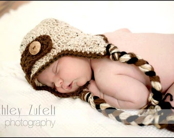 Oatmeal Earflap Hat & Diaper Cover Set