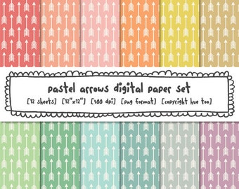 pastel arrows digital backgrounds, digital printable, photography backgrounds, girls patterns, instant download 488