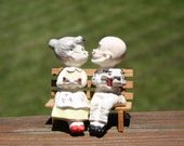 Love is in the air.. with free shipping!! Vintage Salt and Pepper Shakers, Old man and woman kissing, ceramic, collectible shakers,