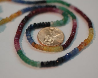 Multi Sapphire Rondelle Faceted
