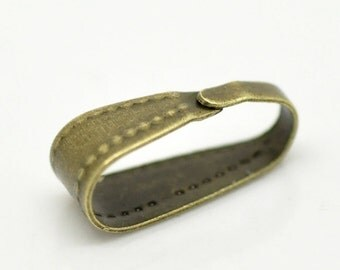 100 pcs Antique Bronze Brass Pendant Bail with detail 11mm (BF320)