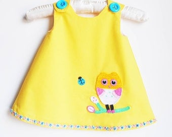 Owl and Ladybug Best Friends Dress - Yellow Dress - Baby Clothing - Beach Outfits - Crochet Appliques - Family Photo Prop  - 3M to 4T