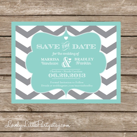 Chevron Wedding SAVE THE DATE Postcard Optional - diy Printable - Lovely Little Party