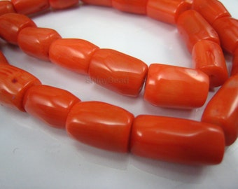 coral drum bead 14x10mm 15 inch strand