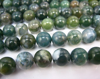 stone bead,moss agate,round 10mm,15 inch