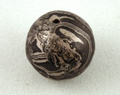 Japanese Mokume Gane Woodgrain Focal Bead in Sterling Silver, Shakudo and Shibuichi