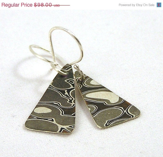 20 % VACATION SALE Mokume gane Woodgrain Japanese style Modern Geometric Triangle Earrings in Sterling silver, Shakudo, Shibuichi and Coppe