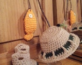 Pattern for Crocheted Fishing Hat Water Boots and Fish for Baby size 0  6 Months  Great Photo Prop for Dad