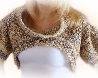 Shrug With Cowl, Crochet Bolero, Alpaca Cropped Sweater, Fashion Shrug, Crochet Shrug Bolero, Purple and Beige Alpaca Blend