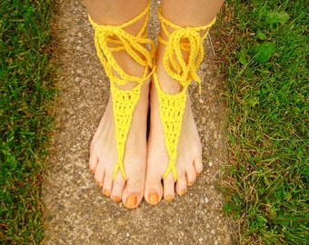 Yellow Crochet Cotton Barefoot Sandal, Bridal Sandal, Yoga Sandal, Wedding Beach Sandal