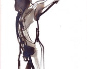 male figure pose 003 original watercolour painting in ink