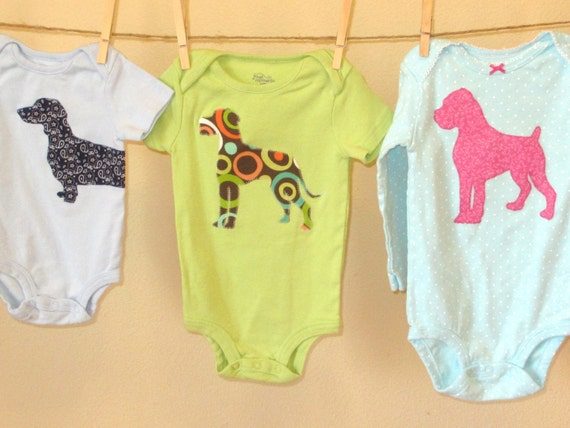 Dog Breed baby bodysuit of almost any breed CUSTOM MADE Newborn to 24M