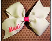 Gray and Pink Embroidered Hairbow...Personalized Hairbow...Hairbows...Baby/Toddler Hairbows...Monogrammed Hairbows