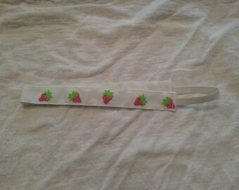 Strawberries on White No Slip Headband