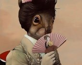 Package of three greeting cards and envelopes: Sophisticated Squirrel Geisha Girl Japanese Pop Surrealism Animal Art