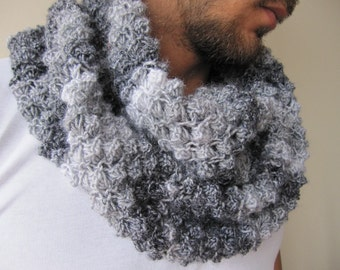 Women's knitted scarves-Gray Knit infinity scarf/Chunky Knit COWL scarf- knit infinity scarf, neck warmer-man-woman winter fashion accessory