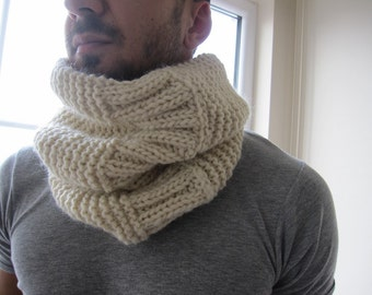 Knitted Infinity scarf-Knit COWL Scarf -Men fashion-cape neck warmer-teen boy-girl-winter fashion scarves-Ivory white  black gray blue brown