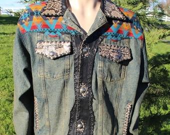 Mens Custom Jean Jacket Size  Large