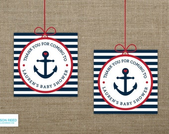 Nautical Baby Shower Favor Tag - Anchor - Printable Party - Baby Shower Decorations - Red - Navy - Printable - heart