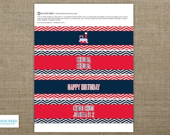 Train Birthday - Train Drink Wrap -  Chevron - Train Printable - Boy Birthday - Chevron Birthday - Printable Party - First Birthday