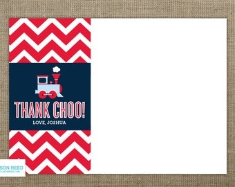 Train Thank You Note - Train Birthday - Train Printable - Chevron - Boy Birthday - Chevron Printable - First Birthday - 2nd birthday