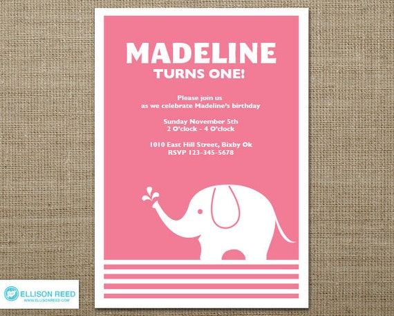 Elephant Invitation First Birthday Invitation Baby Shower
