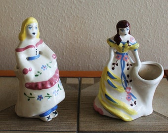 2 Weil Ware Lady Vintage California Pottery Pot Planters Charming 1940s and 1950s Mid Century