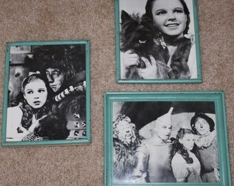 3 Wizard of Oz Framed Black and White Glossy Lg Post Card Photos Movie Memorabilia Dorothy Toto Tinman Scarecrow