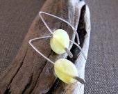 Yellow Opal Earrings - Sterling Silver Gemstone Earrings - Cats Eye Earrings, Libra Zodiac Earrings