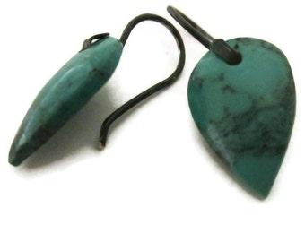 Teardrop Turquoise Earrings, Blue Stone  Earrings,  Modern Gemstone Earrings Turquoise Jewelry, Artisan Handmade by Sheri Beryl