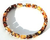 Clearance: Natural Baltic Amber bracelet - beaded bracelet with Baltic Amber and resin beads and sterling silver magnetic clasp