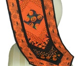 Handmade Machine Quilted Cotton Halloween Table Runner