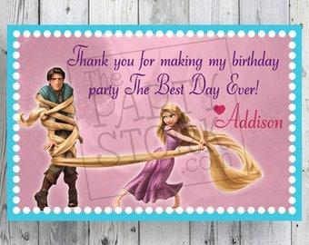 "Tangled Thank You Card Tag, 2"" x 3"" Small, Printable Rapunzel Birthday Party Favor Tags, DIY, YOU PRINT"