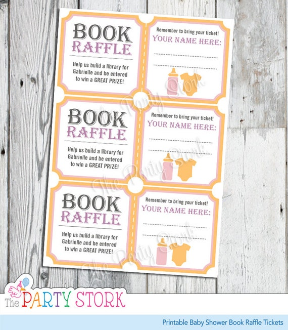 Items Similar To Baby Shower Book Raffle Tickets, Pink For