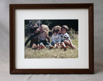 9 x 11 Picture Frame, Solid Mahogany Wood - choice of 3 different colors - with a slim molding profile for matted photographs and fine art